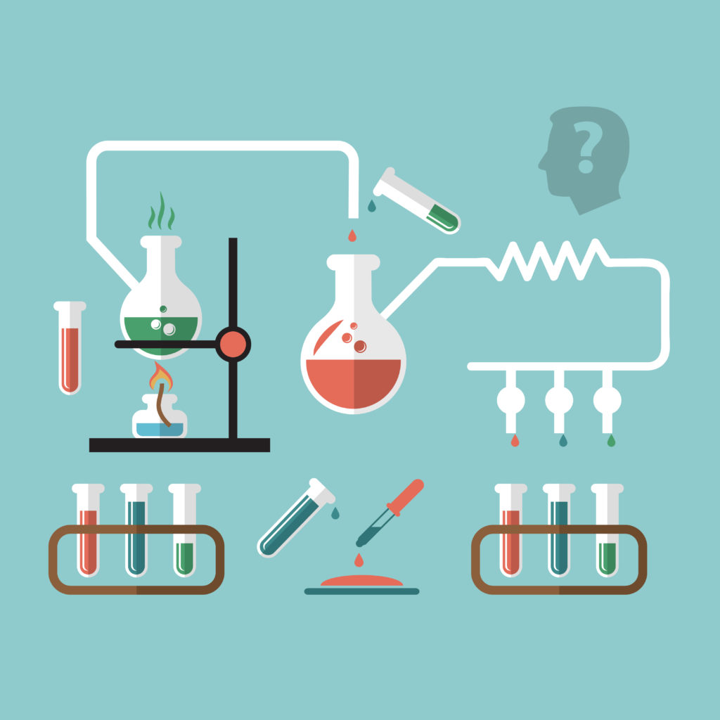 Chemistry molecular scientific research tube pipette reaction infografic chart presentation with burner flame doodle sketch vector illustration